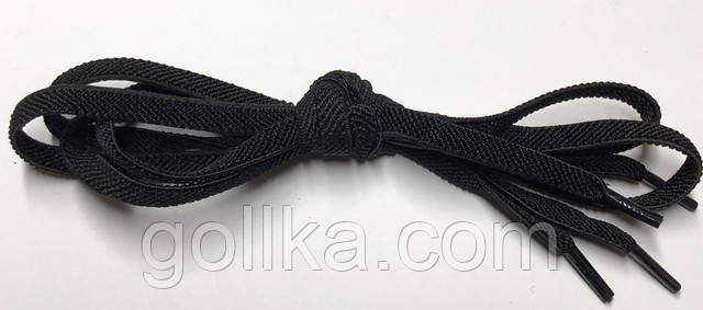 Шнурок плоский резиновый черный