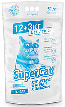 Наповнювач деревний Super Cat 12+3 кг (51 л) для туалетів для кішок