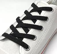 Шнурок резиновый плоский черный 100см (Ширина 7 мм), фото 1