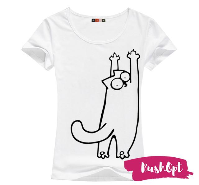 Женская футболка с принтом кот саймон  оптом Arut оптовый интернет магазин женской одежды арут