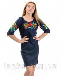 Платье вышиванка Маки,  нарядное, ткань габардин р-р 42,44,46,48,50,52 вишиванка українська сукня