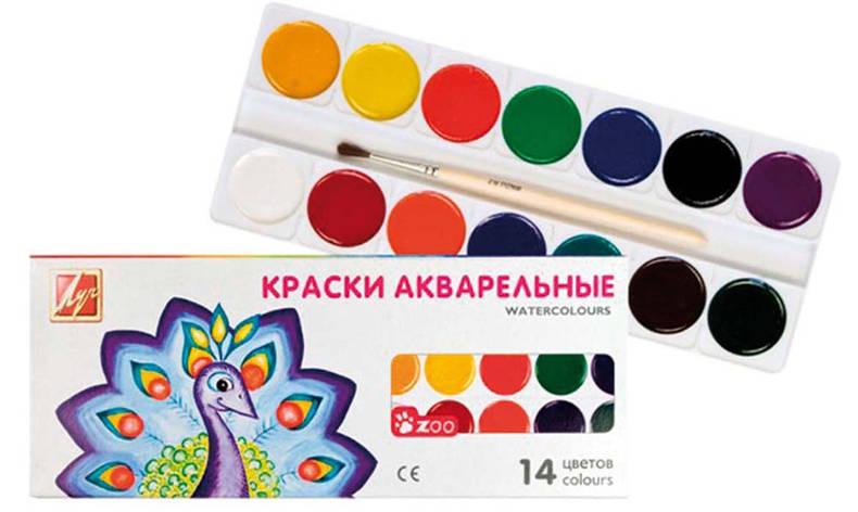 """Акварель """"Зоо""""(""""Мини"""") 14 цв. мед. б/к к/к 22С1418-08                                     , фото 2"""