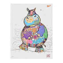 "Блокнот А5/96 КЛ. 7БЦ, фольга золото+Уф.виб. ""BugArt. White hippo"" YES"