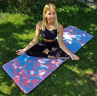 Коврик для йоги и фитнеса (йога мат) OSPORT Premium TPE+TC 183х61см толщина 6мм (MS 2138)