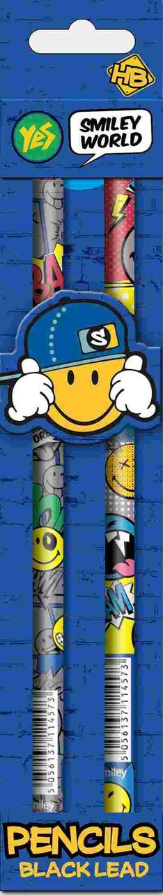 """Карандаш ч/гр круглый с ласт. в траймикард """"Smiley World""""(blue), 2шт/уп"""