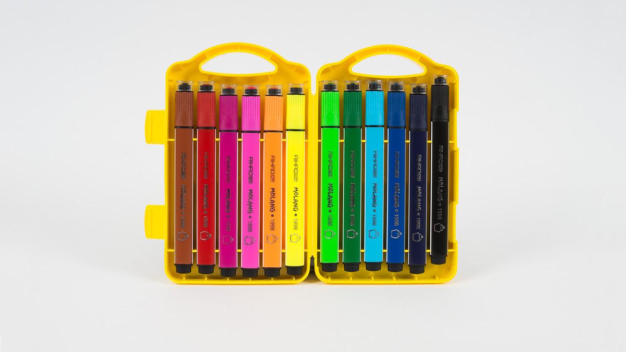 Набор фломастеров на водной основе с печатью. 12 цветов. AIHAO АН1998-12