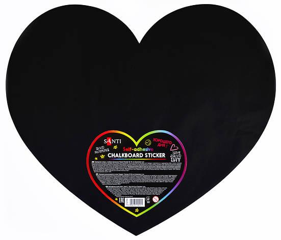 """Меловый самоклеящийся стикер """"Сердце"""", 49*42 см, 1 шт.                                    , фото 2"""