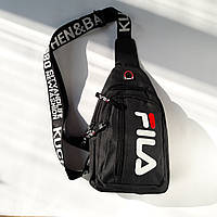 Мужская сумка через плечо Fila ,сумка мужская нагрудная черная