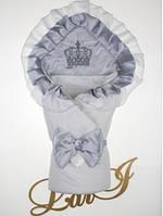 """Роскошный конверт-одеяло """"Элегантность"""" на выписку. Белый с серым"""