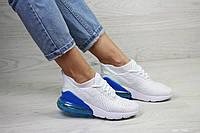 Весенние женские кроссовки Nike Air Max 270,сетка,белые с синим