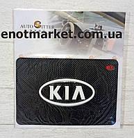 """Коврик-держатель антискользящий липкий на торпеду автомобиля c логотипом """"KIA"""" для телефона"""