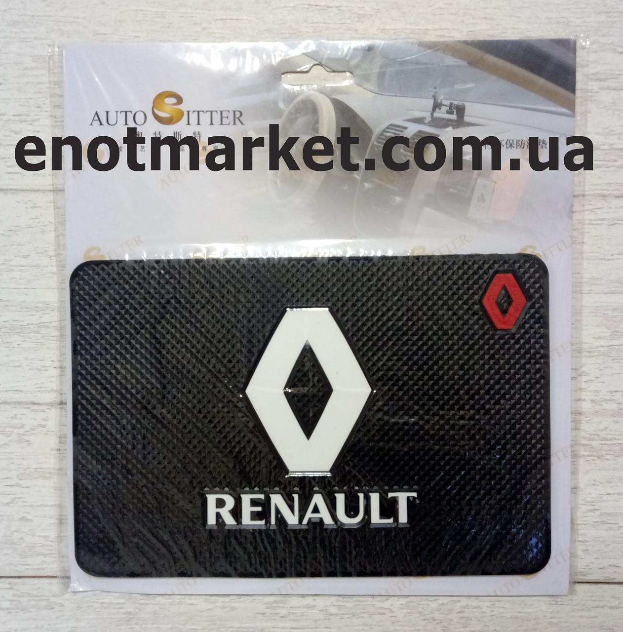 """Килимок-тримач антиковзаючий липкий на торпеду автомобіля з логотипом """"RENAULT"""" для телефону"""