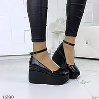 Женские кожаные чёрные туфли на платформе  = Saledo  Украина