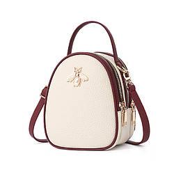 """Небольшая женская сумочка через плечо """"Бабочка"""" из экокожи, с тремя отделениями, 3л"""
