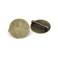 Основы для Броши, Булавка с рамкой 25 mm, Античная бронза