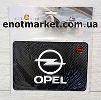 "Коврик-держатель антискользящий липкий на торпеду автомобиля c логотипом ""OPEL"" для телефона"