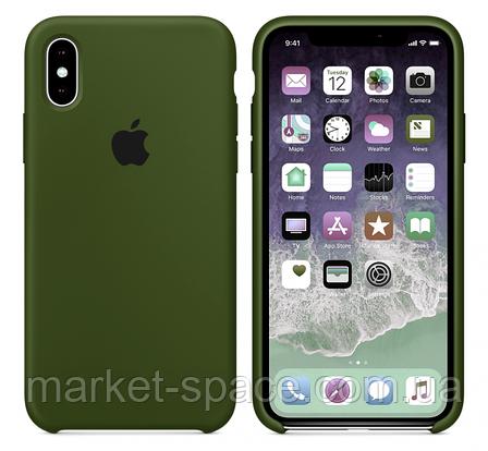 """Чехол силиконовый для iPhone Xs. Apple Silicone Case, цвет """"Хаки"""", фото 2"""