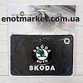"""Коврик-держатель антискользящий липкий на торпеду автомобиля c логотипом """"SKODA"""" для телефона"""