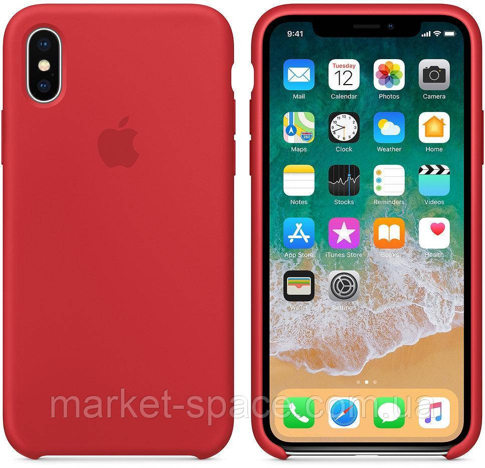 """Чехол силиконовый для iPhone Xs. Apple Silicone Case, цвет """"Красный"""""""
