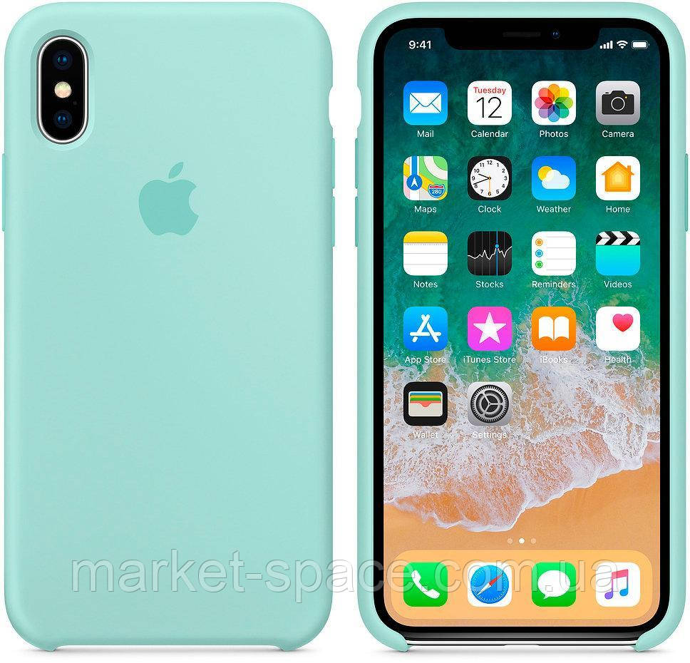 """Чехол силиконовый для iPhone Xs. Apple Silicone Case, цвет """"Зелёная лагуна"""""""