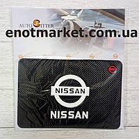 "Коврик-держатель антискользящий липкий на торпеду автомобиля c логотипом ""NISSAN"" для телефона"