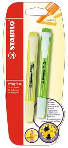 Маркер текстовый STABILO swing cool 2 шт в блистере желтый и зеленый B-13529              , фото 2