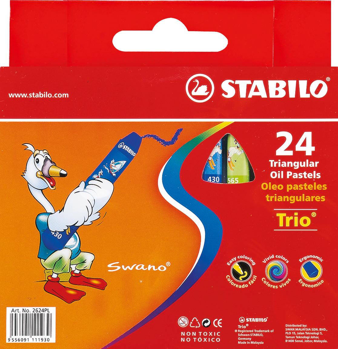 Пастель масляная 24 цв.STABILO TRIO 2624