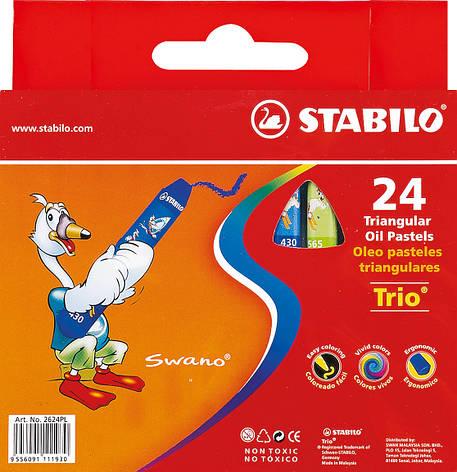 Пастель масляная 24 цв.STABILO TRIO 2624                                                  , фото 2