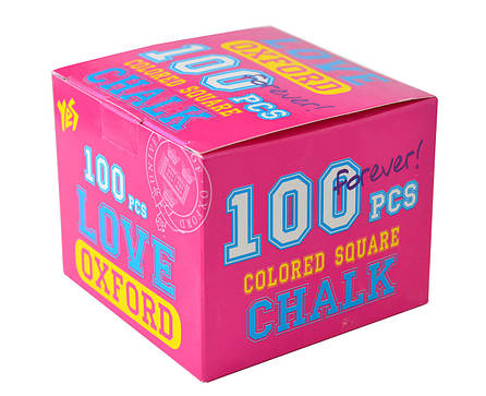 """Мел цветной квадратный 100 шт. """"Oxford"""" розовый                                           , фото 2"""