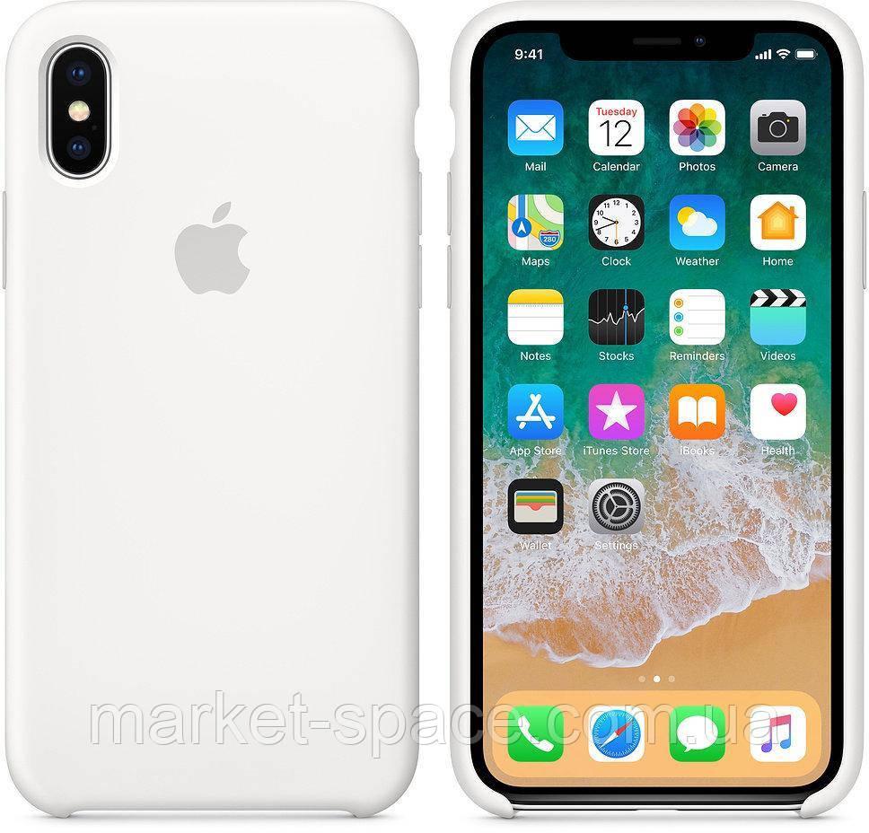 """Чехол силиконовый для iPhone Xs. Apple Silicone Case, цвет """"Белый"""""""