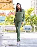 Вязаный стильный женский спортивный костюм цвет  оливка, светло - серый, синий, пудра, графит, бордо, молочный