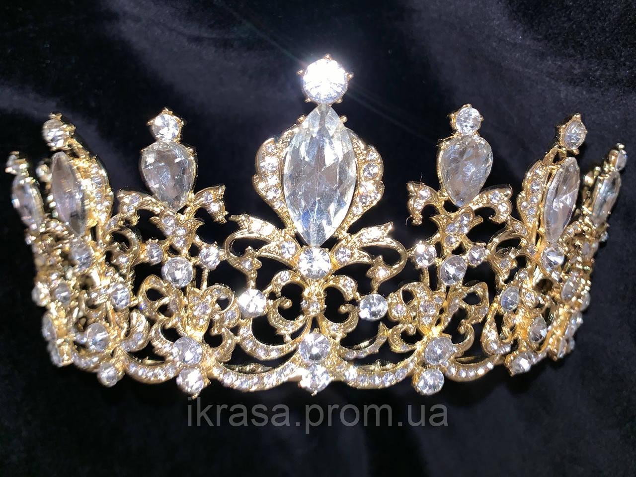 Корона півколом золота з класичними кристалами (7 см)