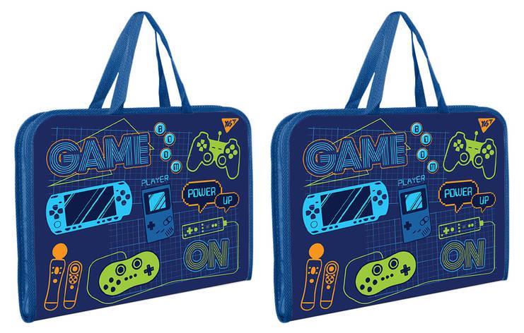 """Папка-портфель на блискавці з тканинними ручками """"GAME""""                                   , фото 2"""