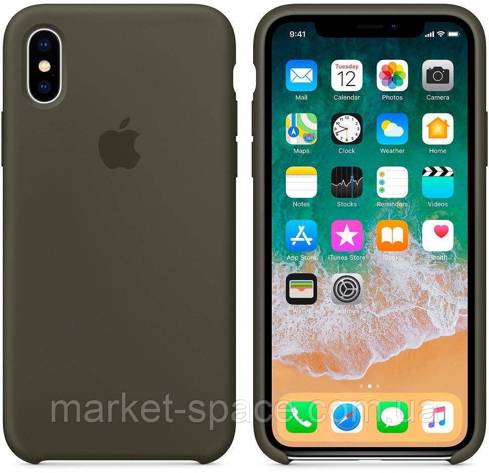 """Чехол силиконовый для iPhone Xs. Apple Silicone Case, цвет """"Тёмно-оливковый"""""""