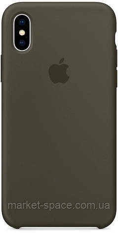 """Чехол силиконовый для iPhone Xs. Apple Silicone Case, цвет """"Тёмно-оливковый"""", фото 2"""