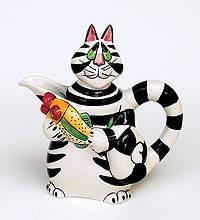 """Фарфоровый разноцветный сливочник """"Кот Кланси"""" (17см)Купить в интернет магазине."""