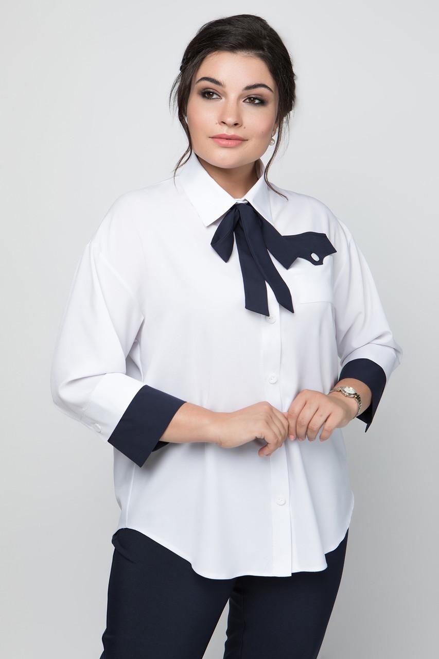 Женская белая рубашка больших размеров 50-60