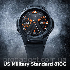 "Ticwatch S2 Sport Smartwatch Midnight Black 1.4 "" AMOLED Display, GPS, Android Wear 2.0, US Military 810G 50m"