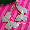 Сережки Метелики висячі - Срібні сережки підвіски Метелики, фото 3
