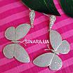 Сережки Метелики висячі - Срібні сережки підвіски Метелики, фото 5