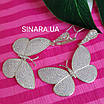 Сережки Метелики висячі - Срібні сережки підвіски Метелики, фото 2