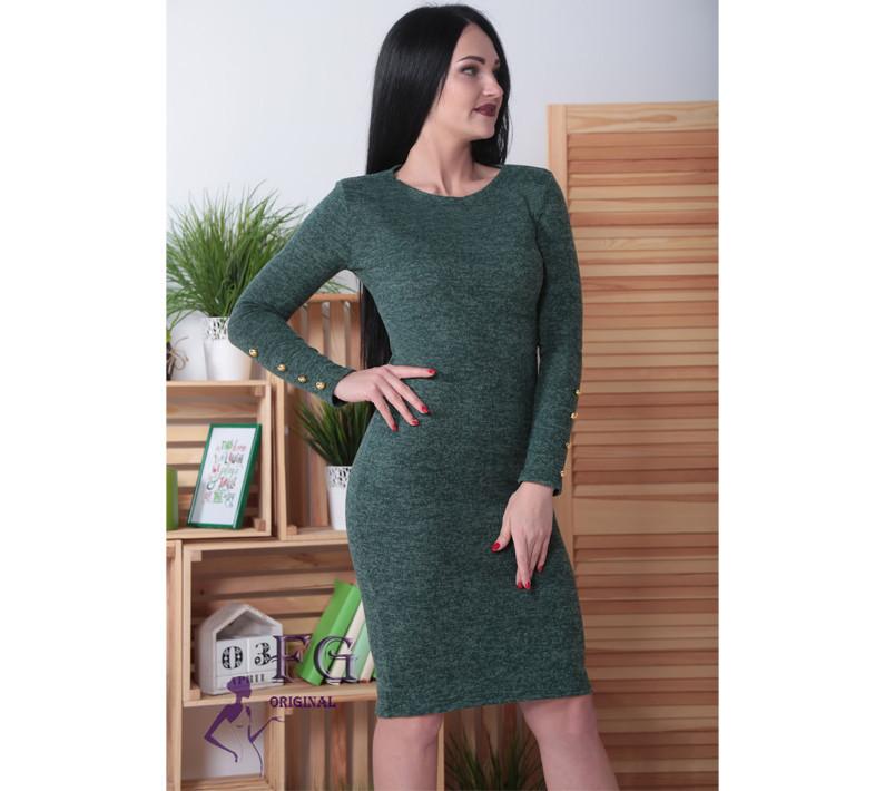 Платье ангоровое  Перрис с пуговицами на рукавах