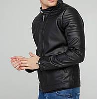 Куртка кожанка мужская весна/осень черная (реплика)