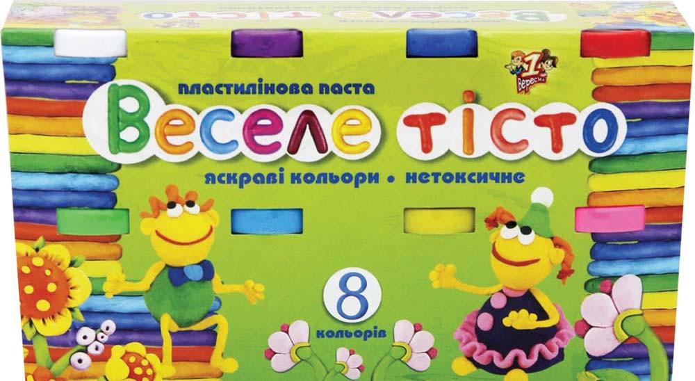 """Пластилиновая паста """"Веселое тесто"""" 8цв. 60гр. к/к"""
