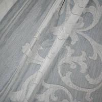 Тюль-батист жаккард, вязь серый/белый утяж