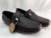 Стильные мужские кожаные чёрные мокасины Bertoni