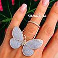 Серебряное кольцо Бабочка с двигающимися крылышками - Летающая Бабочка брендовое кольцо на фалангу, фото 2