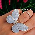 Серебряное кольцо Бабочка с двигающимися крылышками - Летающая Бабочка брендовое кольцо на фалангу, фото 9