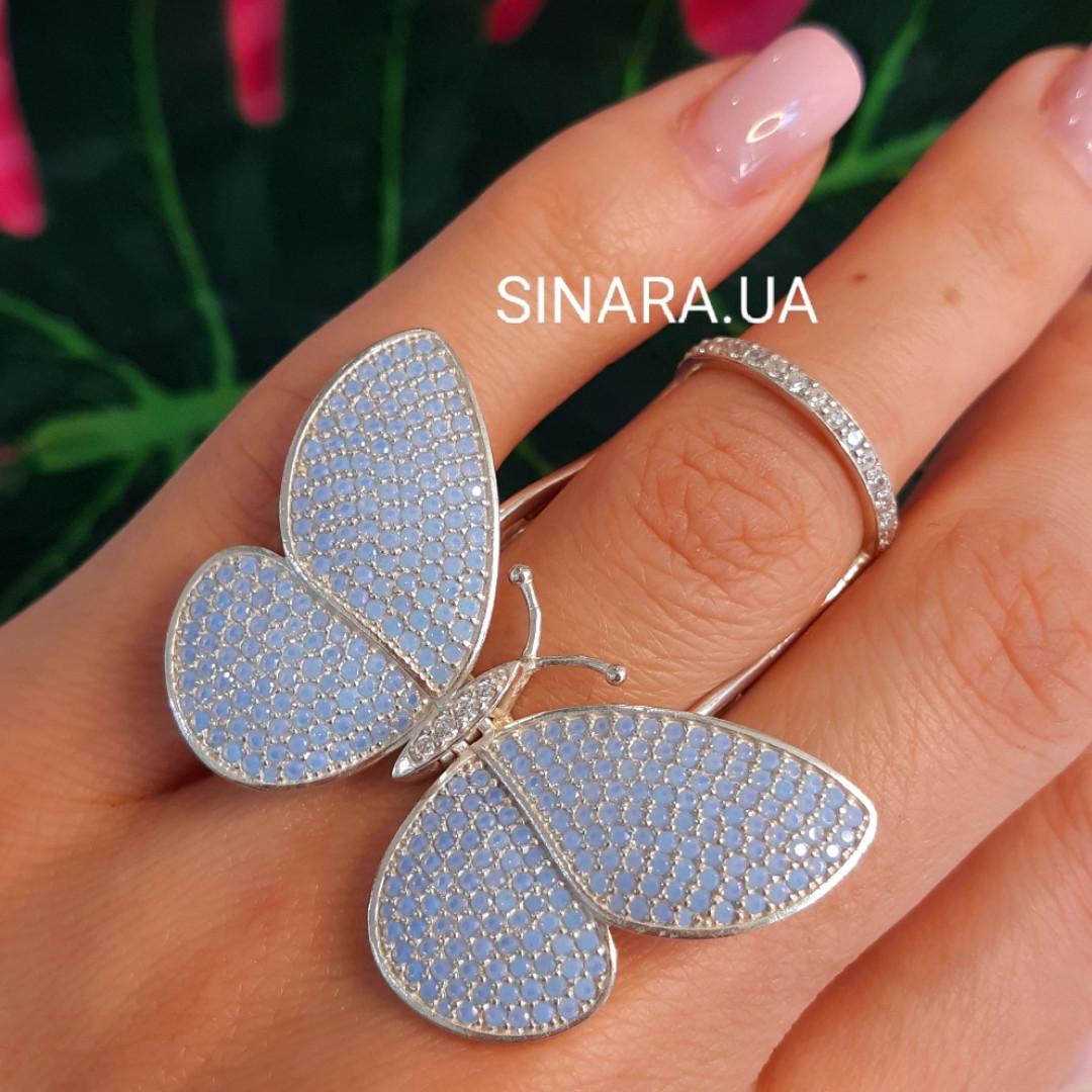Серебряное кольцо Бабочка с двигающимися крылышками - Летающая Бабочка брендовое кольцо на фалангу