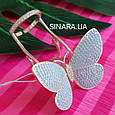 Серебряное кольцо Бабочка с двигающимися крылышками - Летающая Бабочка брендовое кольцо на фалангу, фото 8